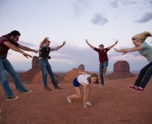Cast and crew of Uncommon Rhythm on location at Monument Valley